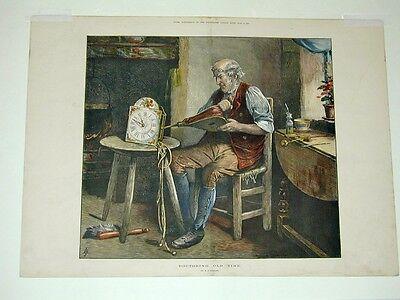 Uhren Uhrmacher Schwarzwald Schilderuhr Brille Blasebalg Holzstich 1877