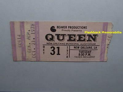QUEEN 1978 Concert Ticket Stub NEW ORLEANS LA. Freddie Mercury MEGA RARE
