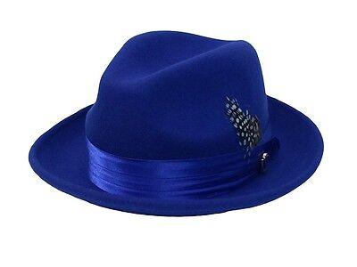 Men's Fedora Dress Hat Royal Blue UN-108 Size S, M, L, XL 100% Australian Wool (Blue Fedora Hats)
