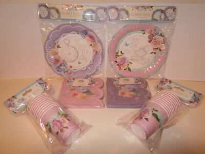 Alice In Wonderland Party Plates And Cups (Blooming Beautiful Party Tableware - 20 Paper Cups, 24 Plates and 40)