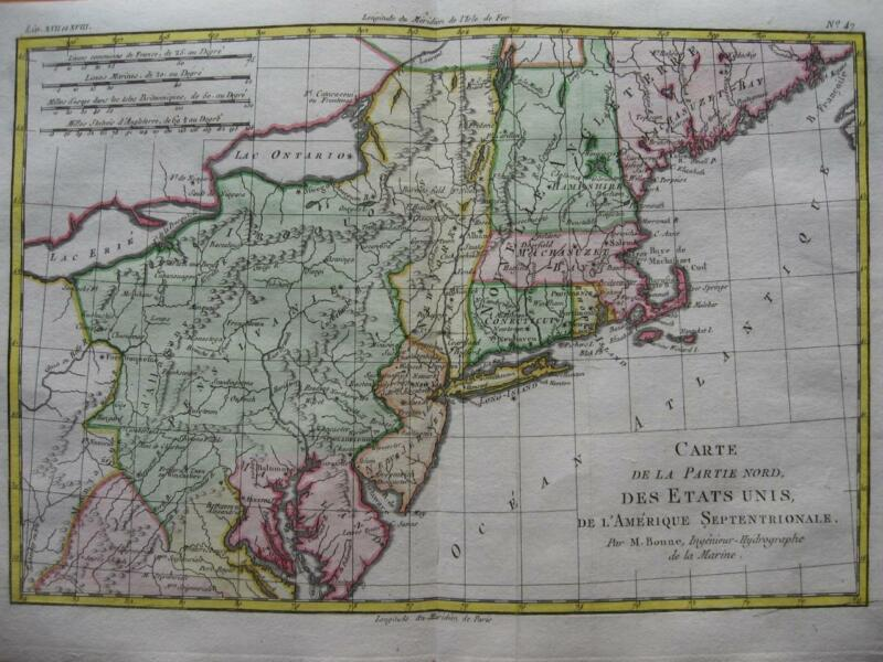 1780 - BONNE - Map PENNSYLVANIA  NEW YORK  NEW ENGLAND MARYLAND NEW JERSEY