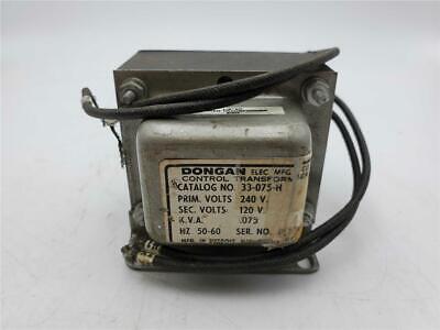 Dongan Control Transformer 33-075-h Prim-240v Sec-120v .075kva 5060hz