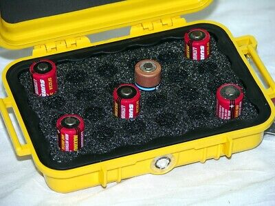 Pelican ™ 1020 Yellow Hard case holds 24 cr123 and cr2 batteries Free nameplate, used for sale  Shipping to India
