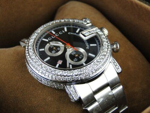 "6 Ct New Custom ""g"" Watch Mens Diamond Gucci Ya101334 6 Ct Sides"