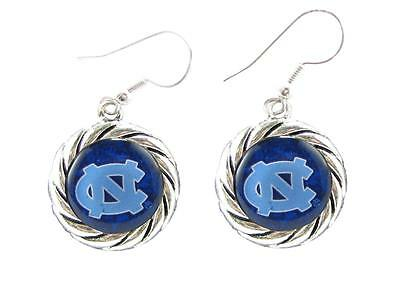 North Carolina Tar Heels Blue Domed Circle Charm Silver Hook Earring Jewelry (Carolina Blue Hook)