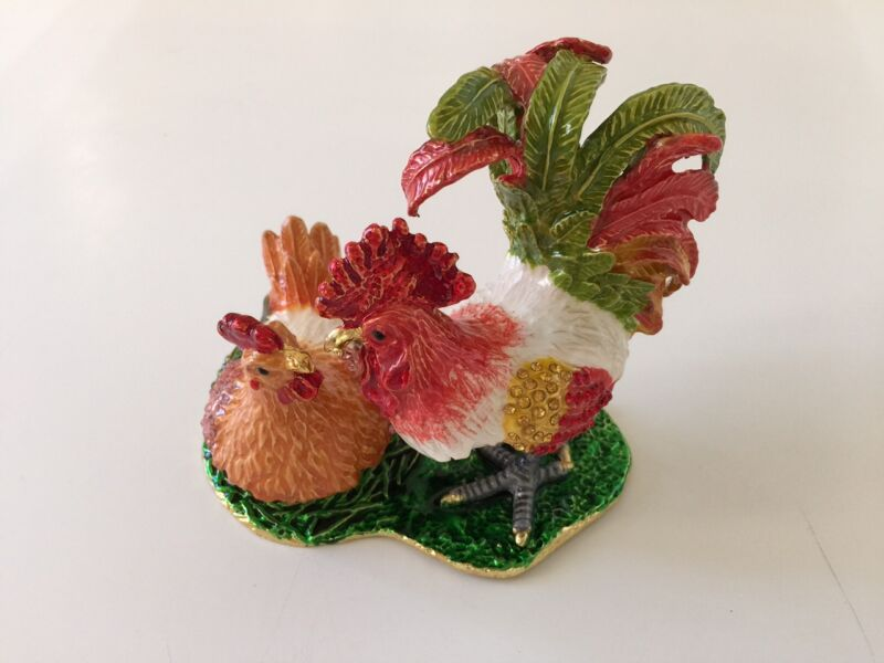 BEAUTIFUL BEJEWELED ROOSTER CHICKEN  STATUE TRINKET JEWELRY BOX