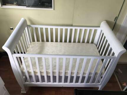 Pine Wood Baby Sleigh Cot Bed Up To 4 Years Old White