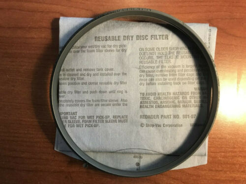 Shop Vac mounting ring and 1x reusable dry pick up filter 90107 (replaces 90101)