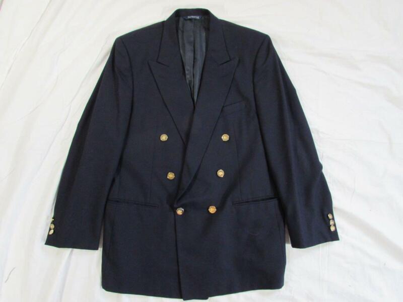 Vtg Burberry Double Breasted Navy Blue Wool Blazer Men