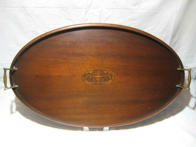 Antique Winchester Oval Mahogany Tray With Urn Satinwood Inlay Brass Handles