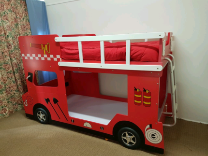 Kids Bed bunk Fire truck Red with 1 mattress