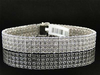 Mens White Gold Finish 4 Row Real Genuine Diamond 13 MM Bracelet Bangle 8.5 Inch Mens White Gold Bangle
