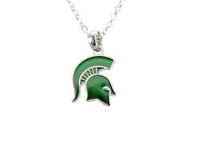 Michigan State Spartans Enamel Green Silver Charm Necklace Jewelry Licensed covid 19 (Michigan State Spartans Green coronavirus)