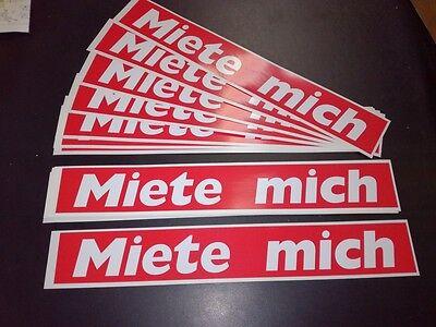 Aufkleber Miete mich 34x5cm.Rot/Weiss Beschriftung Mietmaschinen Anhänger Geräte
