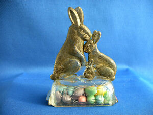 VINTAGE GLASS & TIN EASTER TOY  RABBIT FAMILY CANDY CONTAINER CIRCA 1920