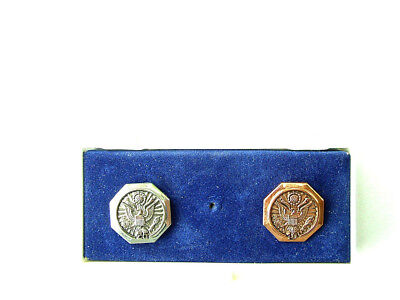 10 & 25 Years of Service Navy Eagle Copper & Silver Plated Lapel Pins in Case