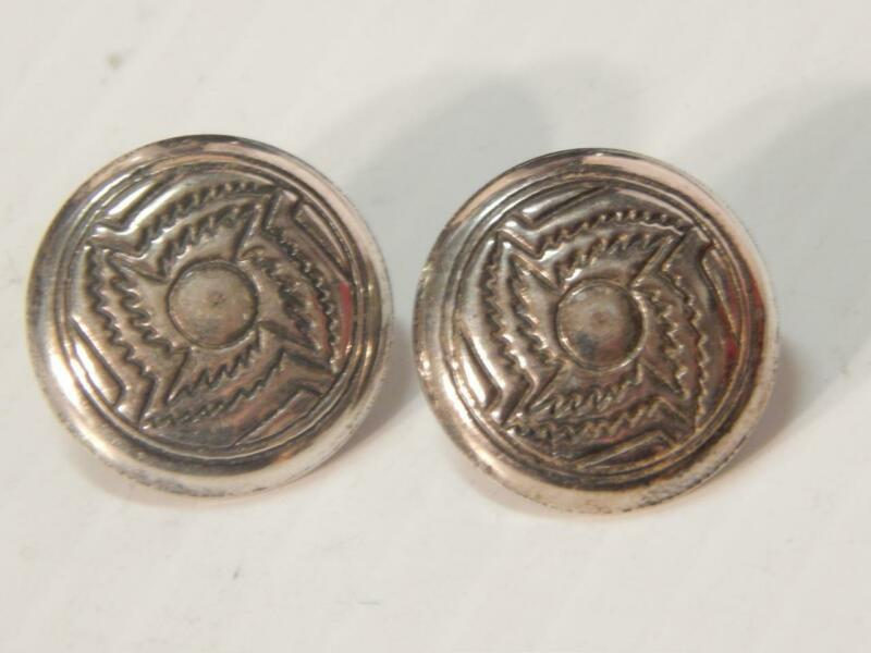 VINTAGE NAVAJO INDIAN STERLING SILVER stamped CONCHO EARRINGS OLD PAWN
