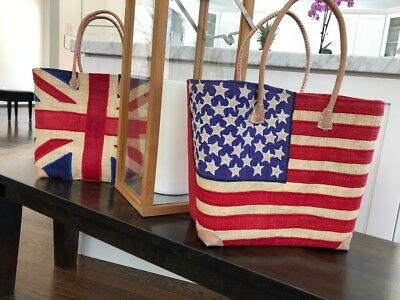 Raffia Woven Tote - USA flag Stripe Straw Raffia Woven Tote Basket Beach Bag Handbag Red White Blue
