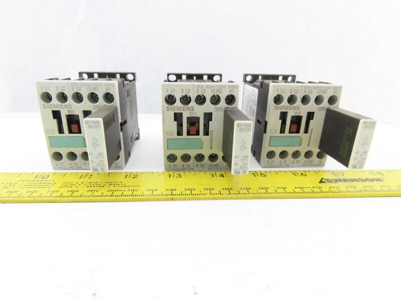 Siemens 3RT1015-1AK61 600V 3Ph 5Hp MAX Contactor Lot of 3