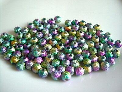 100pcs x 6mm Rainbow Coloured Stardust Round Acrylic Beads