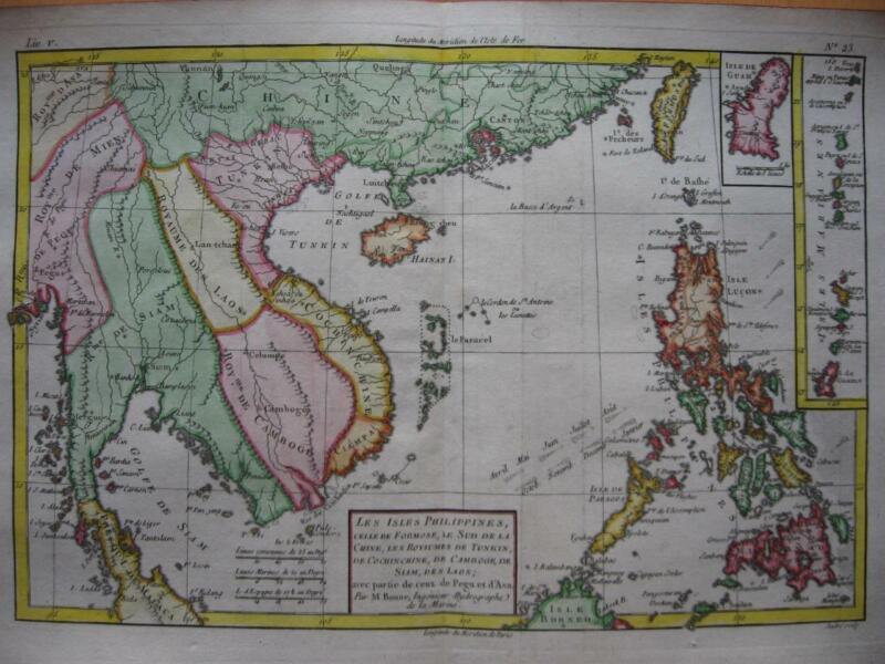 1780 - BONNE - Map THAILAND VIETNAM PHILIPPINES TAIWAN Southern CHINA GUAM