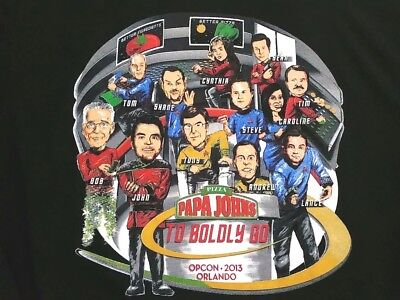 Papa Johns Pizza Star Trek Parody T Shirt Mens L The Galaxy Space Sci Fi Tee
