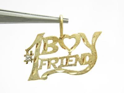 14k Gelbgold Vintage #1 Junge Freund Diamant Charme Anhänger Halskette