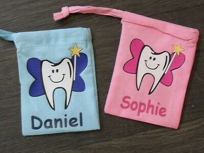 Personalised Children's Tooth Fairy Mini Cotton Drawstring Boys & Girls Bags