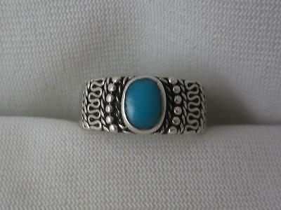 DAKOTA WEST STERLING SILVER 9MM RING BAND W/ WIREWORK & TURQUOISE CABOCHON - (Silver Wirework Ring)