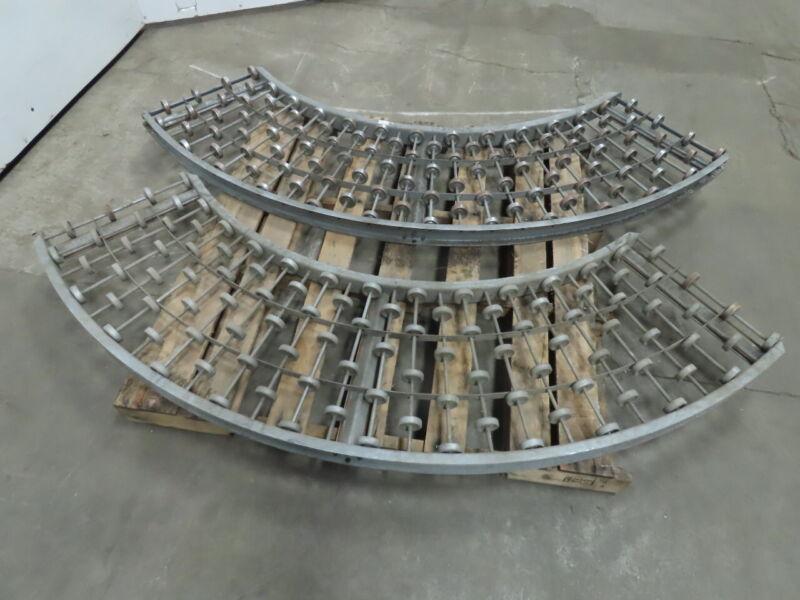18x16x45° Galvanized Steel Skate Wheel Conveyor 45° Curve Lot of 2