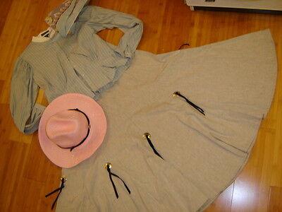 Rodeo Queen Costume (Cowgirl rodeo Queen Prairie pioneer stripe shirt skirt hat women's M)