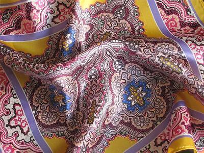 """New 14"""" 100% Silk Pocket Square Men's Handkerchief Multi-Colored Paisley-purple"""