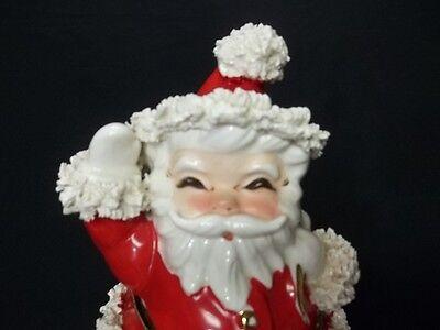 Vintage Napco Japan Ceramic Christmas Santa Spaghetti Trim Planter Figurine