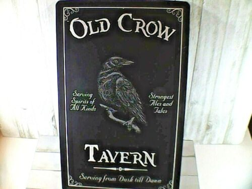 "Metal Halloween Sign "" Old Crow Tavern ""  Retro /  Brand New  16x11"