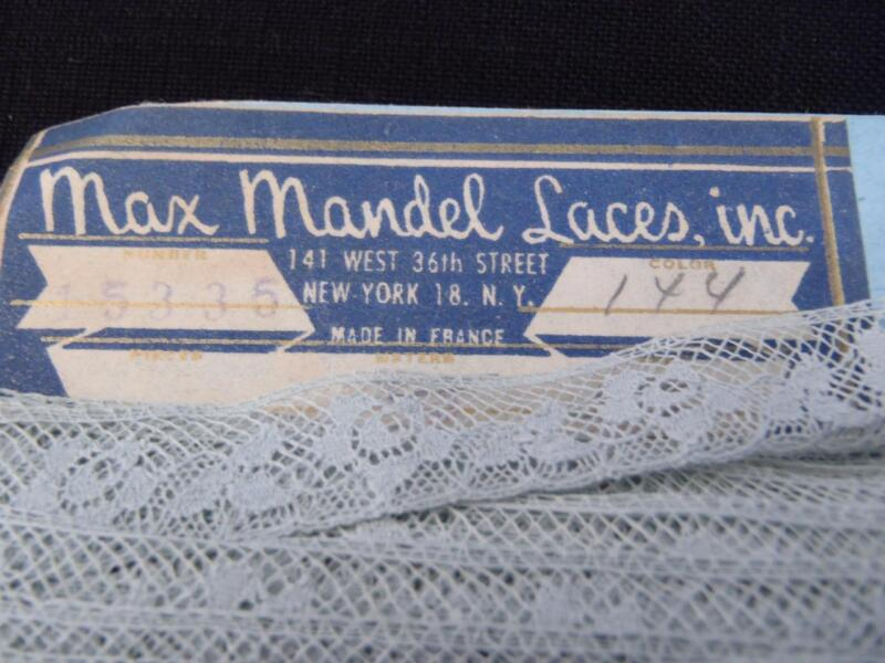 "ANTIQUE FRENCH COTTON LACE 5/8"" OLD UNUSED STORE STOCK DUSTY BLUE GORGEOUS!"