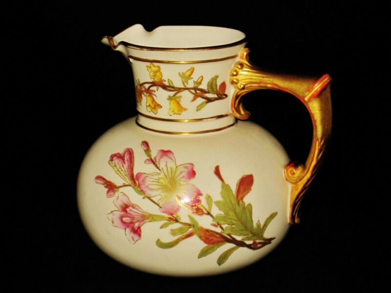 Antique Royal Worcester Porcelain Pitcher, Hand Painted Flowers, Circa 1889,1376