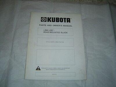 Kubota L356 L357 Rear Mount Blade Operators Manual And Parts List Catalog