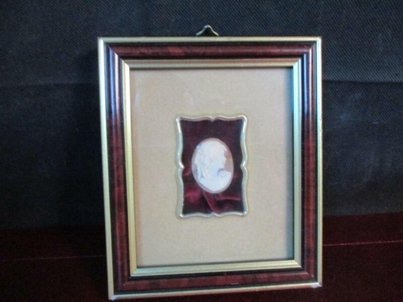VINTAGE SHELL CAMEO IN FRAME TORRE DEL GRECO ITALY HAND CARVED WALL HANGING