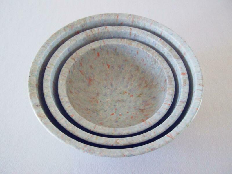 3 Lt. Blue Brookpark Melamine Melmac Nested Mixing Bowl Set ~ Confetti Splatter