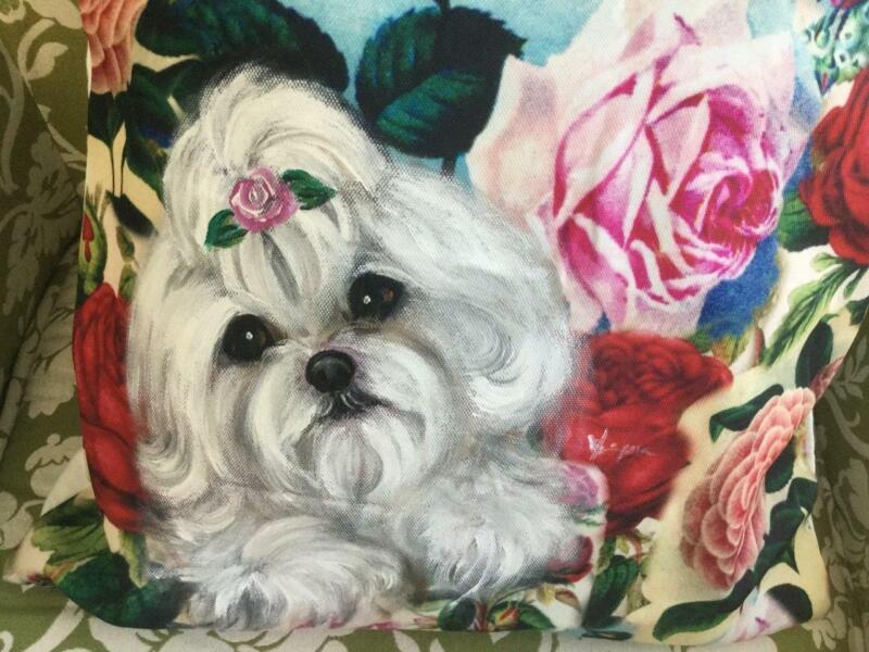 MALTESE HAND PAINTED PILLOW ROSES AND ROSES....GORGEOUS!