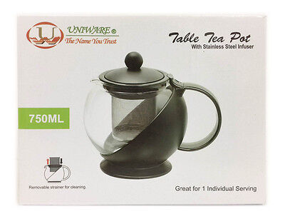 Uniware Table Glass Tea Coffee Pot with Stainless Steel Infuser Filter, 750ML