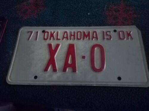 Oklahoma Sample license plate 1971