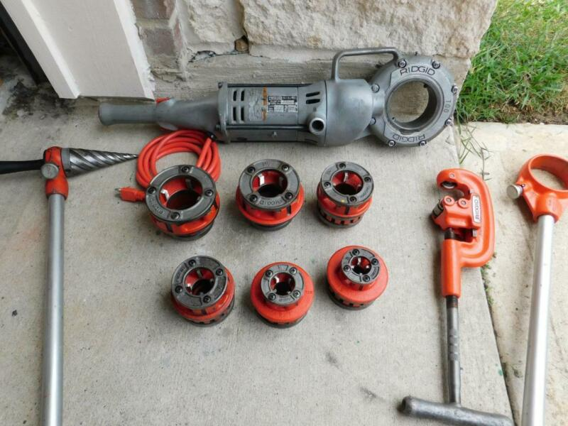 "RIDGID 700 PIPE THREADER THREADING MACHINE WITH 6 DIES 1/2"" TO 2"" CUTTER REAMER"