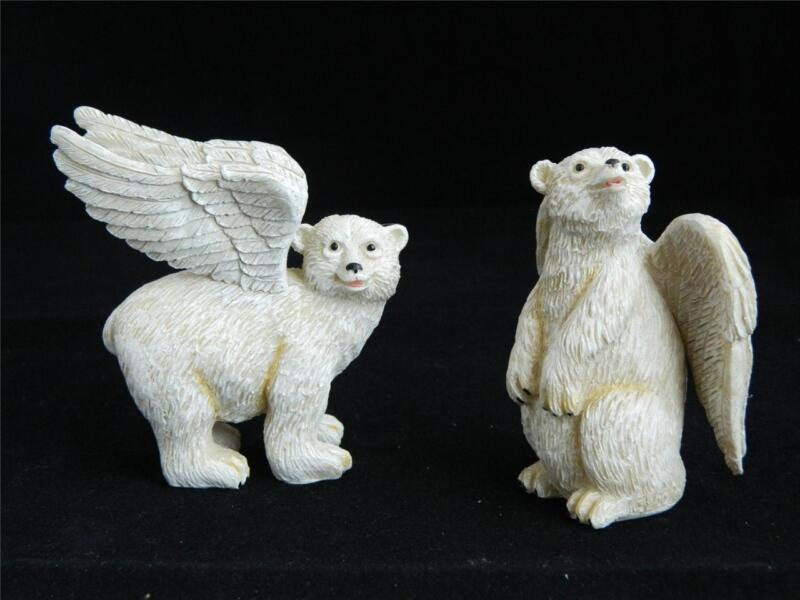 2001 Patience Preston Winged Polar Bear Angel Pair Couple Character Collectibles