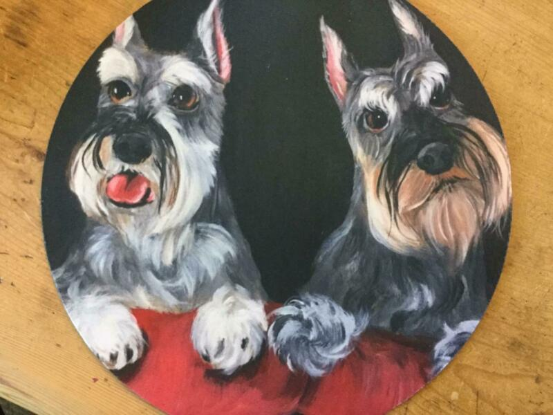 TWO SCHNAUZER PRINTED MOUSEPAD FROM ORIGINAL PAINTING