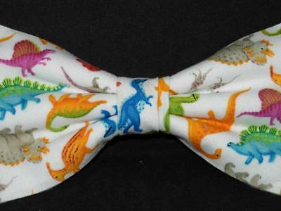 Mini Bow Tie (Dinosaur Bow tie / Colorful Dinos on White / Mini Dinosaurs / Pre-tied Bow tie)
