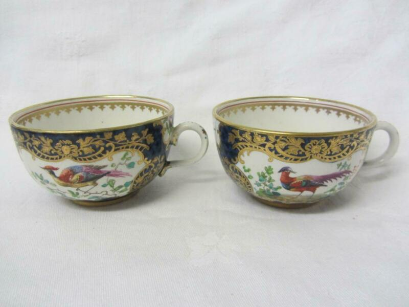Set of Two (2) Booths Silicone Worcester Scale Blue Exotic Tea Cups, c1906