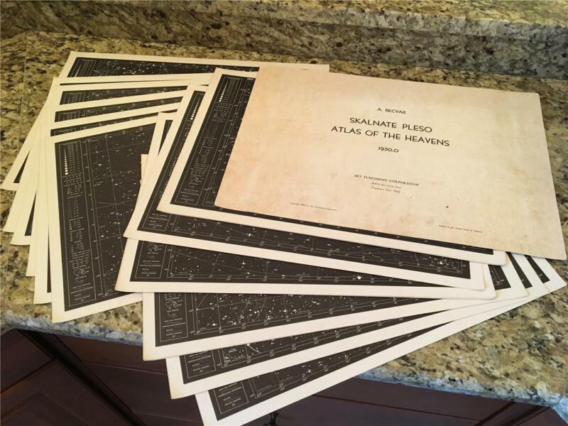 1950.0 Skalnate Pleso Atlas of the Heavens Set,Star Charts,Becvar, Sky Astronomy