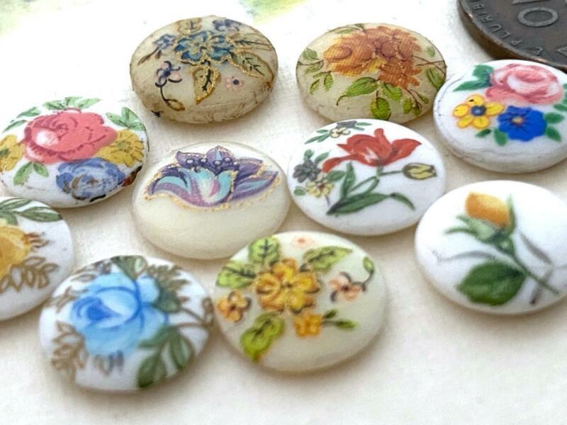 Vintage 10mm Floral Limoges Glass Cabs Mix Japan 10