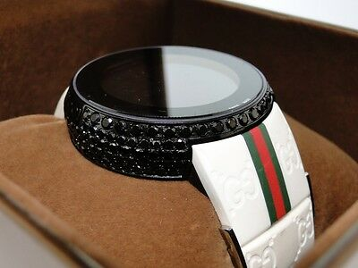 1ad45e0d662 7.0 Ct Mens Custom White Full I Gucci Digital Ya114214 Black Diamond Watch